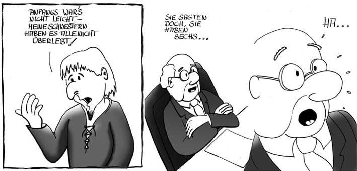 Cartoon beim arbeitsamt