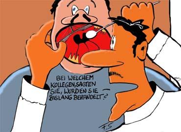 Cartoon beim zahnarzt